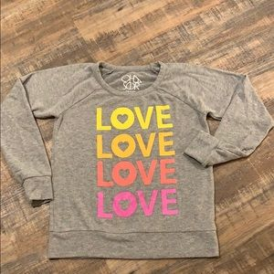 CHASER size sm grey cozy shirt w hearts and LOVE